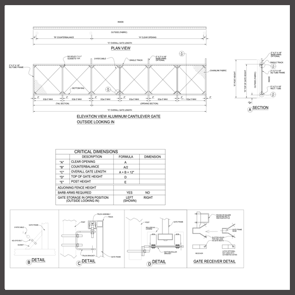 CAD Drawings and Specs - America's Gate Company