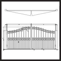 Over Arch Gate with Alternating Pickets and Rings