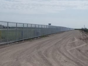 Temporary fence with top and bottom rail installed at the Nebraska State Fair