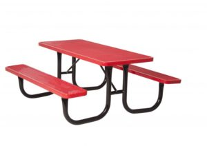 Picnic table and set of attached benches