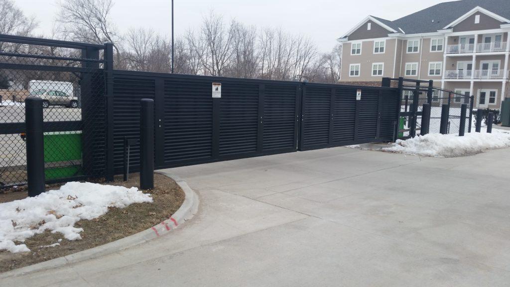 Black aluminum horizontal louver commercial sliding gates