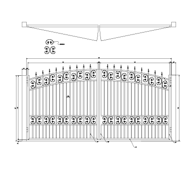 Arched gate design with two rows of c scrolls and quad flare finials - Design