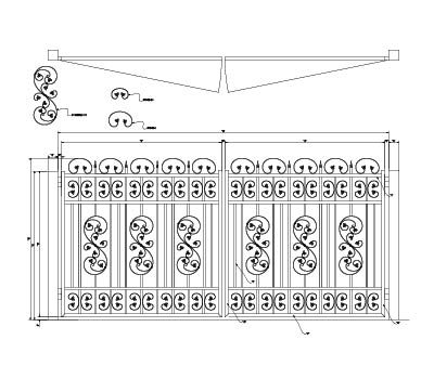 CAD drawing of a flat top decorative gate with several emblems and c scroll ribbon work
