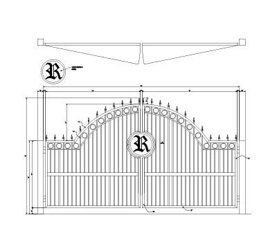 CAD drawing of an arched estate gate with emblem infill and rings