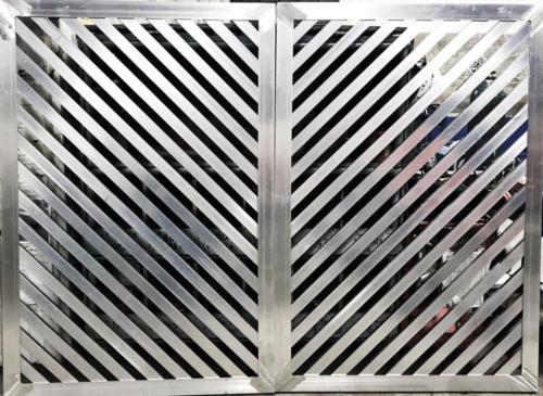 Diagonal louver double swing gate - industrial swing gate