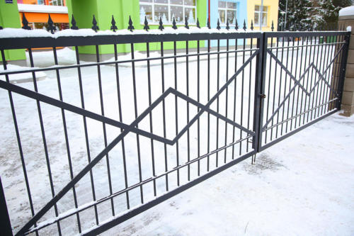 Forged gates at winter time