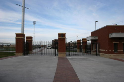 Two sets of double swing gates at Creighton Soccer stadium