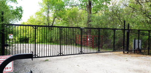 Ornamental commercial slide gate with keypad