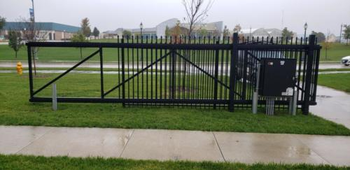 Black ornamental commercial slide gate